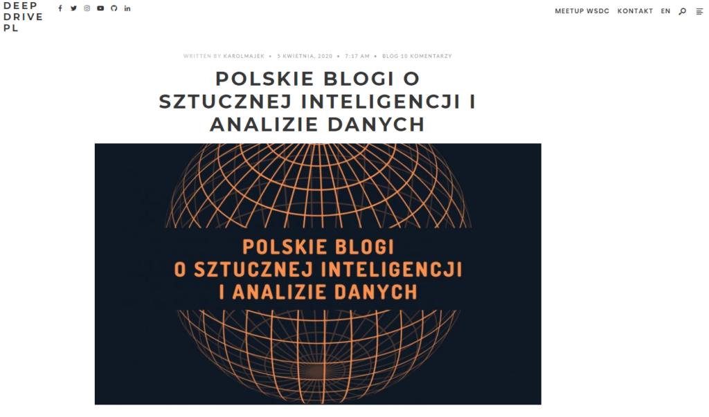 deep drive - zbiór polskich blogów o data science uceniu maszynowym i analizie danych