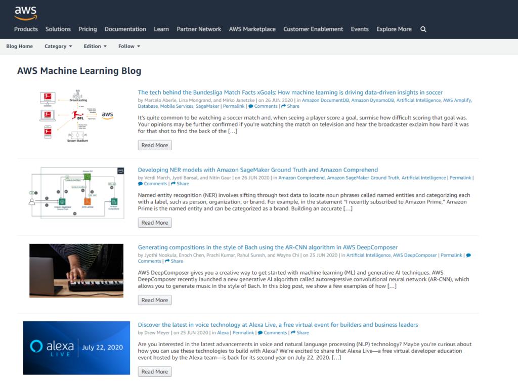AWS data science blog