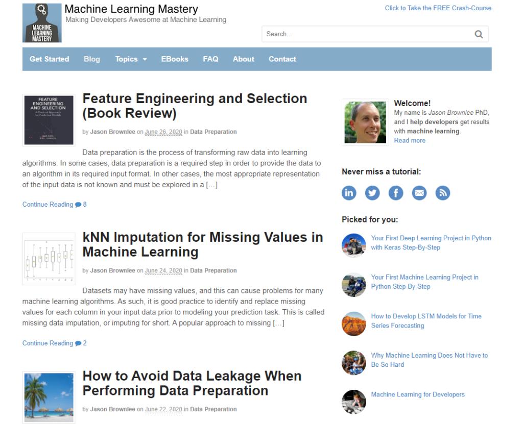 Machine learning mastery blog