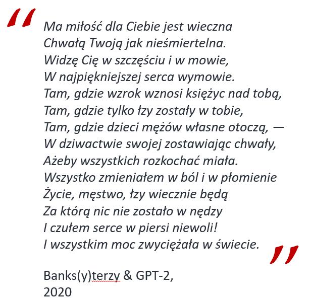 banksterzy & GPT-2 - ma miłość do Ciebie jest wieczna (GPT-2 na Google Colab)