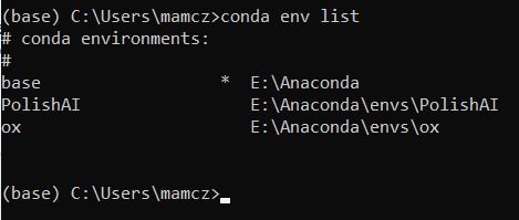środowisko wirtualne python anaconda conda env list